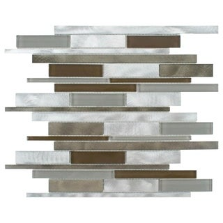 SomerTile 11.875x12.25-inch Fuse Linear Lorraine Brushed Aluminum and Glass Mosaic Wall Tile (Case of 10)