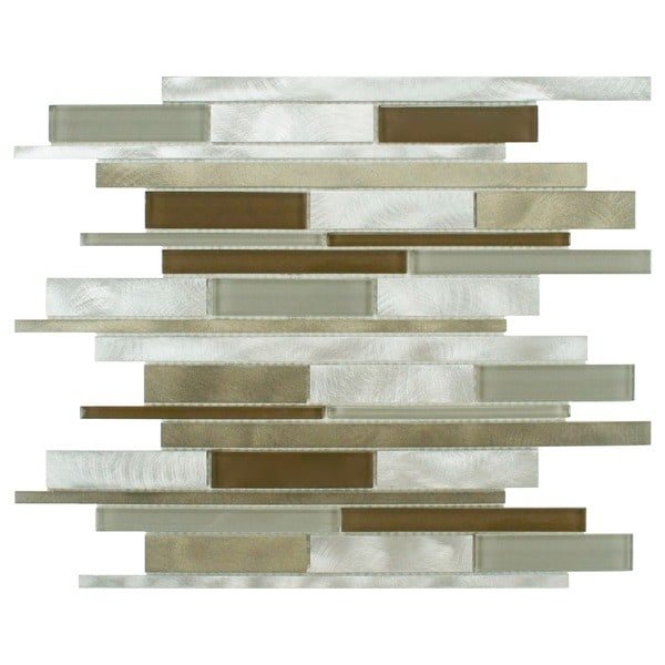 SomerTile Fuse Linear 11.875x12.25 Lorraine Brushed Aluminum and Glass Mosaic Wall Tile (Pack of 10)