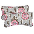 Vintage Pink Corded 12 x 24 Inch Indoor/ Outdoor Lumbar Pillows (Set of 2)
