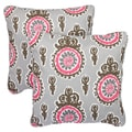 Vintage Pink Corded Indoor/ Outdoor Square Pillows (Set of 2)