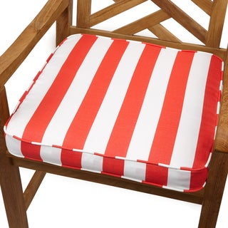Stripe Coral 19-inch Indoor/ Outdoor Corded Chair Cushion