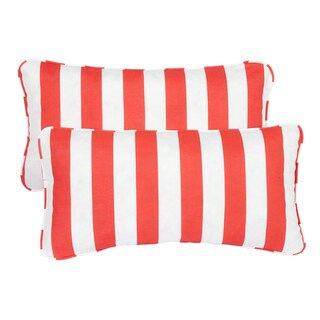 Stripe Coral Corded 12 x 24 Inch Indoor/ Outdoor Lumbar Pillows (Set of 2)