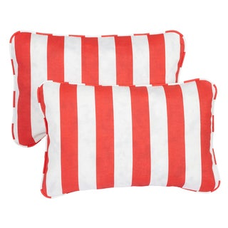 Stripe Coral Corded 13 x 20 inch Indoor/ Outdoor Throw Pillows (Set of 2)