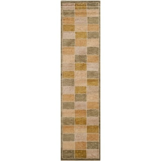 Safavieh Hand-knotted Tibetan Square-pattern Multicolored Wool Rug (2'6'' x 12')