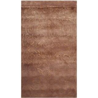 Safavieh Hand-knotted Tibetan Iron Scrolls Lilac Wool/ Silk Rug (4' x 6')