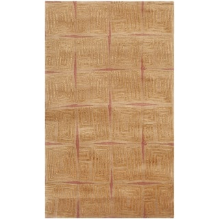 Safavieh Hand-knotted Tibetan Gold/ Rust Wool/ Silk Rug (4' x 6')
