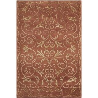 Safavieh Hand-knotted Tibetan Iron Scrolls Rust/ Gold Wool/ Silk Rug (4' x 6')