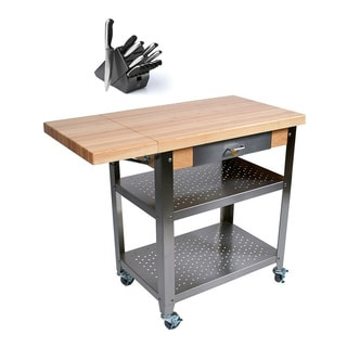 John Boos CU-CULART40 Cucina Culinarte Food Service Cart 40x20 Removable Maple Top Cutting Board