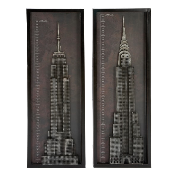 New York Skyscrapers Chrysler and Empire State Building Metal Wall Art Decor (Set of 2)
