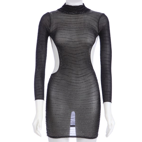 Hustler Black Metallic Backless Long Sleeve Dress (One size)