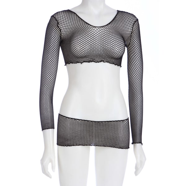 Hustler Black Fishnet Shirt and Mini Skirt Set (One size)