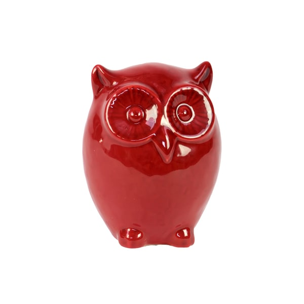 Large Red Ceramic Owl
