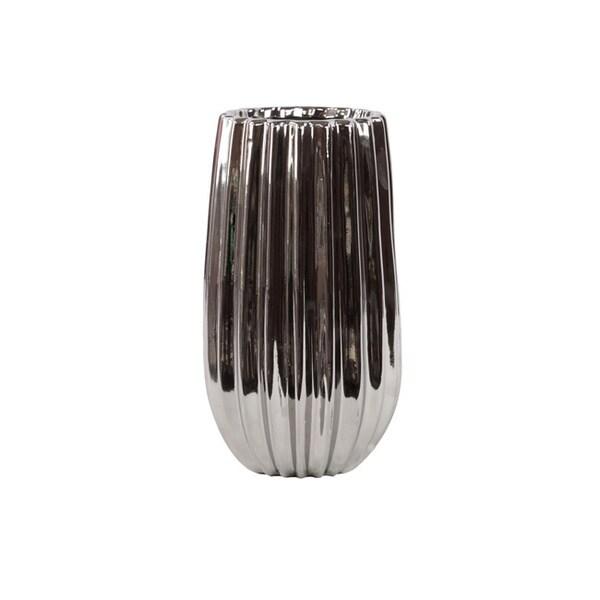 11.8-inch Silver Ribbed Ceramic Vase 11935442