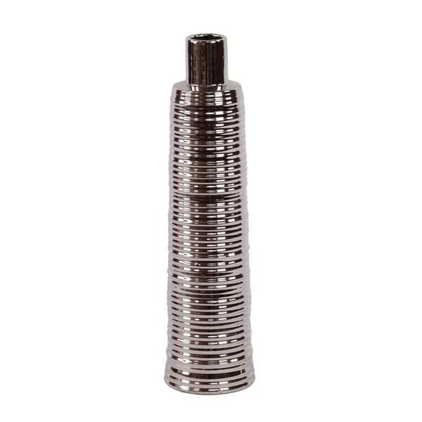 15-inch Silver Ribbed Ceramic Vase