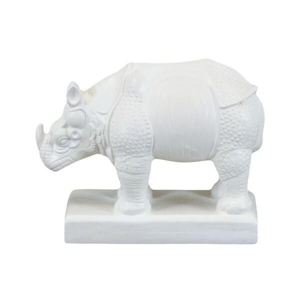White Ceramic Rhino Statue