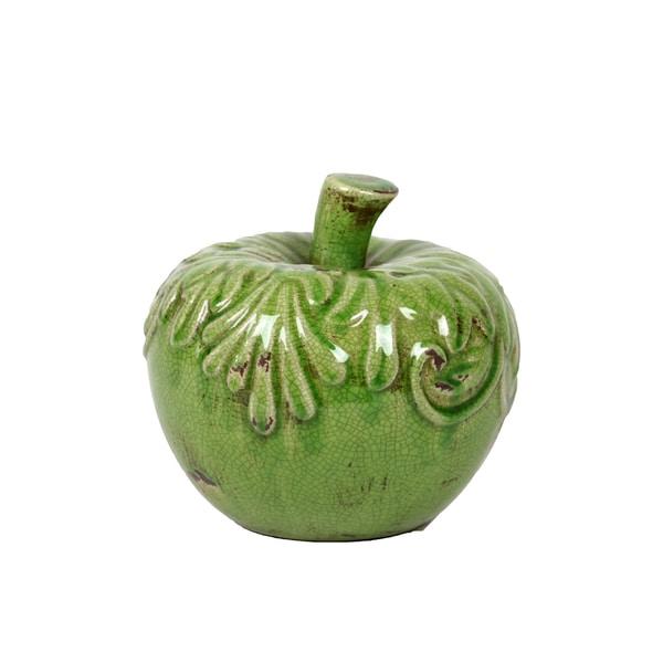 Antique Green Ceramic Apple Sculpture