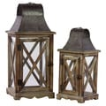 Wood/ Metal Intricate Lanterns (Set of 2)