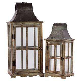 Wood/ Metal Intricate Lanterns (Set of 2)