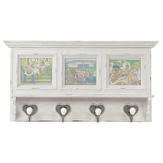 White Washed Wooden Wall Shelf with Hooks