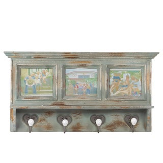 Green Washed Wooden Wall Shelf with Hooks