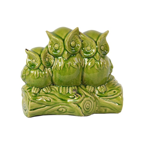 Green Ceramic Owls on a Limb Statue