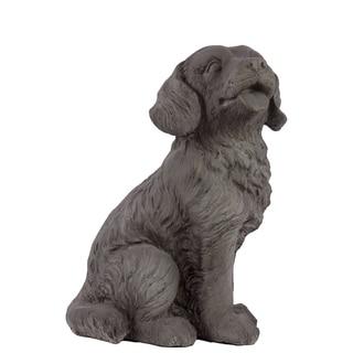 Grey Polystone Fiber Stone Dog