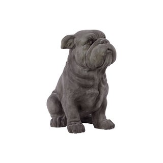 Grey Polystone Fiber Stone Dog