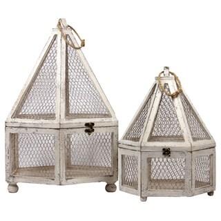 Wooden Hexagon Terrarium Set of Two