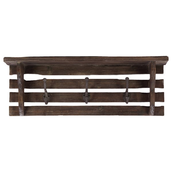 Wooden Wall Shelf-Dark Brown