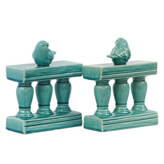 Turquoise Ceramic Bird on Bannister Bookends (Set of 2)