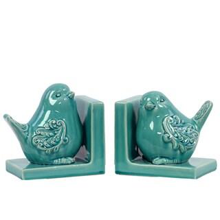 Turquoise Ceramic Bird Bookends (Set of 2)