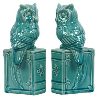 Turquoise Ceramic Owl Bookends (Set of 2)