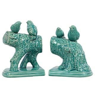 White Ceramic Bird Standing on a Stump Figurines (Set of 2)
