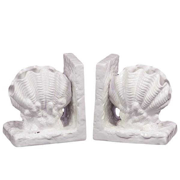 White Ceramic Sea Shell Bookends