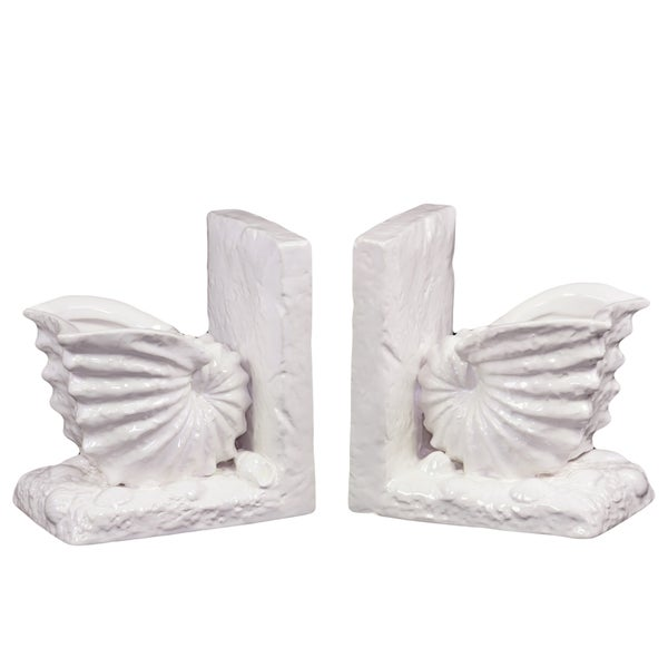 White Ceramic Sea Shell Bookends