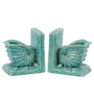 Turguoise Ceramic Sea Shell Bookends