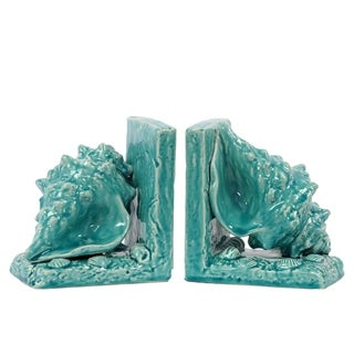 Turquoise Ceramic Sea Shell Bookends