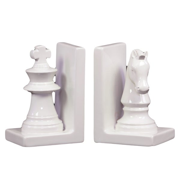 White Ceramic Chess Piece Bookends