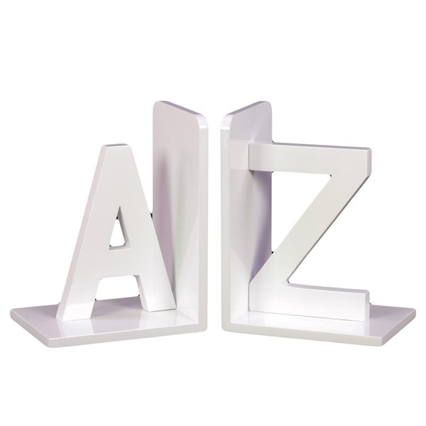 White Wooden AZ Bookends (Set of 2)