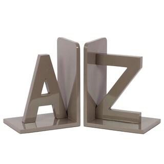 Grey Wooden AZ Bookends (Set of 2)