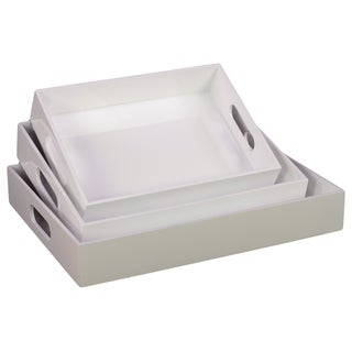 White Wooden Tray (Set of 3)