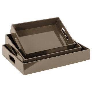 Grey Wooden Tray (Set of 3)