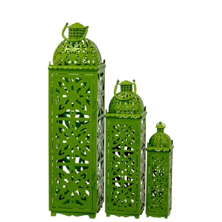 Green Metal Lanterns (Set of 3)