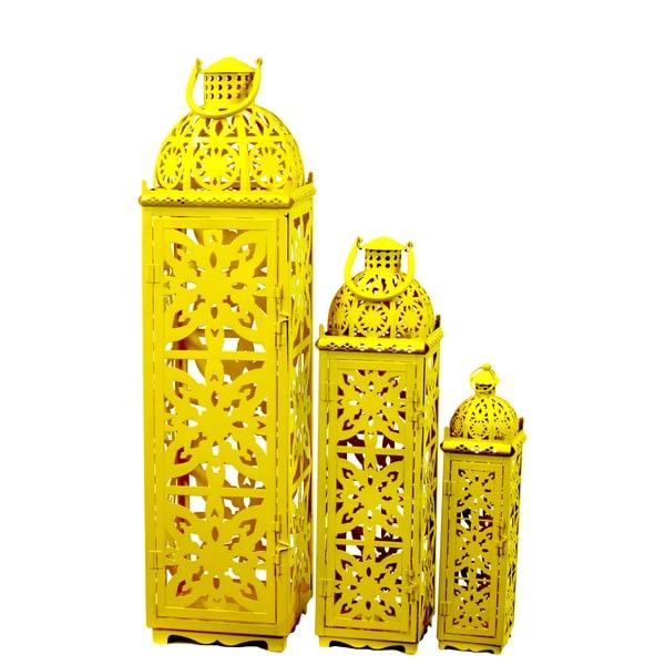 Yellow Metal Lanterns (Set of 3)