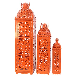 Orange Metal Lanterns (Set of 3)