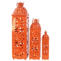 Orange Metal Lantern (Set of 3)