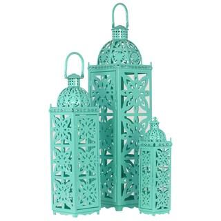 Turquoise Metal Lantern (Set of 3)