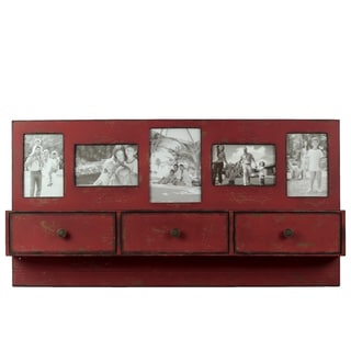Red Wooden Shelf Frame