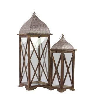 Wooden/ Metal Lantern Set of Two Brown