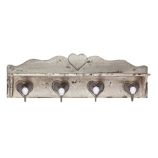 Distressed White Wooden Wall Hook